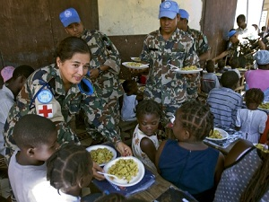 NEPALESE UN PEACEKEEPERS AT THE ORPHANAGE CIMIC